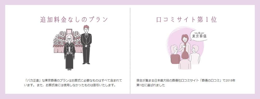 東京葬儀の特徴を説明しているイラスト